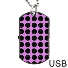 Circles1 Black Marble & Purple Colored Pencil Dog Tag Usb Flash (one Side) by trendistuff
