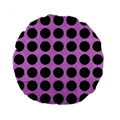 Circles1 Black Marble & Purple Colored Pencil Standard 15  Premium Round Cushions by trendistuff
