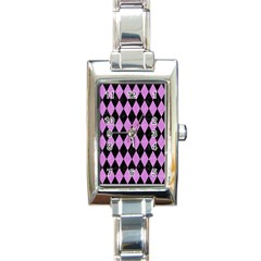 Diamond1 Black Marble & Purple Colored Pencil Rectangle Italian Charm Watch by trendistuff