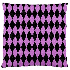 Diamond1 Black Marble & Purple Colored Pencil Large Flano Cushion Case (one Side) by trendistuff