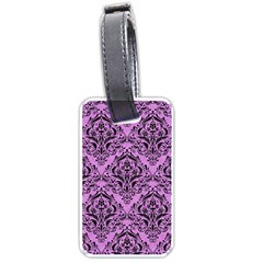 Damask1 Black Marble & Purple Colored Pencil Luggage Tags (two Sides) by trendistuff