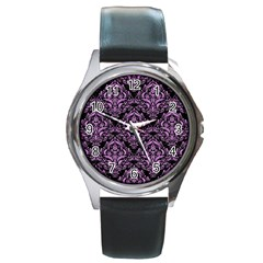 Damask1 Black Marble & Purple Colored Pencil (r) Round Metal Watch by trendistuff