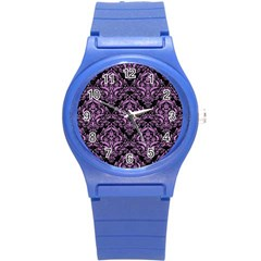 Damask1 Black Marble & Purple Colored Pencil (r) Round Plastic Sport Watch (s) by trendistuff
