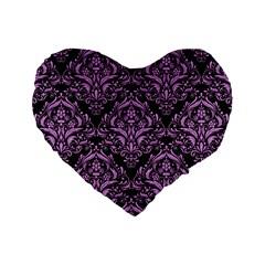 Damask1 Black Marble & Purple Colored Pencil (r) Standard 16  Premium Heart Shape Cushions by trendistuff