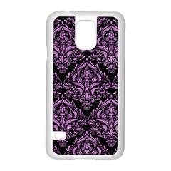 Damask1 Black Marble & Purple Colored Pencil (r) Samsung Galaxy S5 Case (white) by trendistuff
