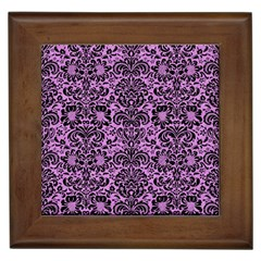 Damask2 Black Marble & Purple Colored Pencil Framed Tiles by trendistuff
