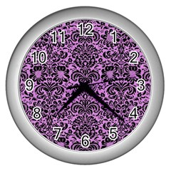 Damask2 Black Marble & Purple Colored Pencil Wall Clocks (silver)  by trendistuff