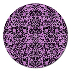 Damask2 Black Marble & Purple Colored Pencil Magnet 5  (round) by trendistuff
