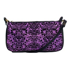 Damask2 Black Marble & Purple Colored Pencil Shoulder Clutch Bags by trendistuff