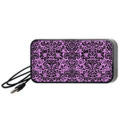 Damask2 Black Marble & Purple Colored Pencil Portable Speaker by trendistuff