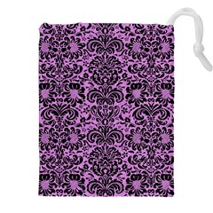 Damask2 Black Marble & Purple Colored Pencil Drawstring Pouches (xxl) by trendistuff