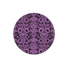 Damask2 Black Marble & Purple Colored Pencil (r) Magnet 3  (round) by trendistuff