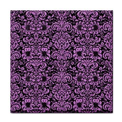 Damask2 Black Marble & Purple Colored Pencil (r) Face Towel by trendistuff