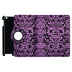 Damask2 Black Marble & Purple Colored Pencil (r) Apple Ipad 3/4 Flip 360 Case by trendistuff