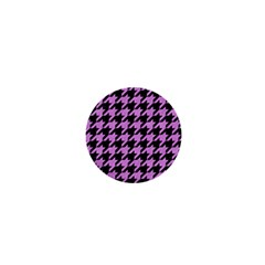 Houndstooth1 Black Marble & Purple Colored Pencil 1  Mini Buttons by trendistuff