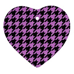 Houndstooth1 Black Marble & Purple Colored Pencil Heart Ornament (two Sides) by trendistuff