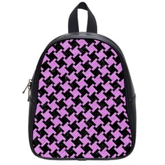 Houndstooth2 Black Marble & Purple Colored Pencil School Bag (small) by trendistuff