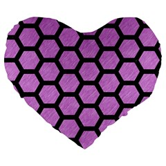 Hexagon2 Black Marble & Purple Colored Pencil Large 19  Premium Flano Heart Shape Cushions by trendistuff