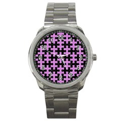Puzzle1 Black Marble & Purple Colored Pencil Sport Metal Watch by trendistuff