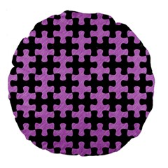 Puzzle1 Black Marble & Purple Colored Pencil Large 18  Premium Flano Round Cushions by trendistuff