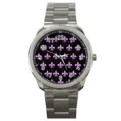 Royal1 Black Marble & Purple Colored Pencil Sport Metal Watch by trendistuff