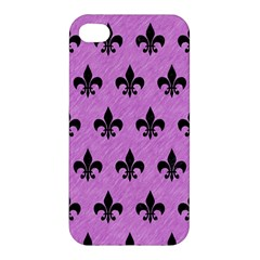 Royal1 Black Marble & Purple Colored Pencil (r) Apple Iphone 4/4s Premium Hardshell Case by trendistuff