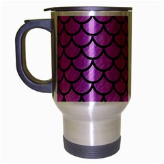 Scales1 Black Marble & Purple Colored Pencil Travel Mug (silver Gray) by trendistuff