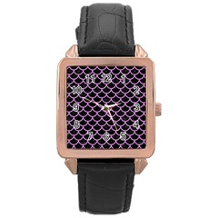 Scales1 Black Marble & Purple Colored Pencil (r) Rose Gold Leather Watch  by trendistuff