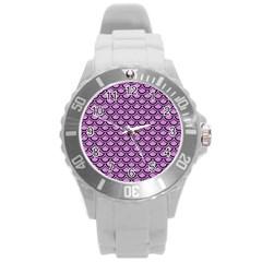 Scales2 Black Marble & Purple Colored Pencil Round Plastic Sport Watch (l) by trendistuff