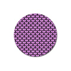 Scales3 Black Marble & Purple Colored Pencil Magnet 3  (round) by trendistuff