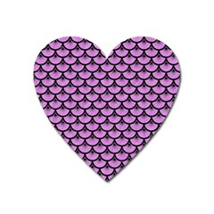 Scales3 Black Marble & Purple Colored Pencil Heart Magnet by trendistuff