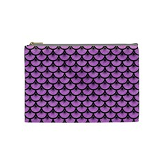 Scales3 Black Marble & Purple Colored Pencil Cosmetic Bag (medium)  by trendistuff