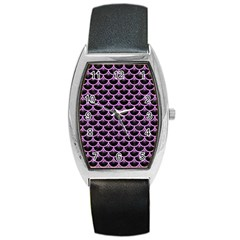 Scales3 Black Marble & Purple Colored Pencil (r) Barrel Style Metal Watch by trendistuff