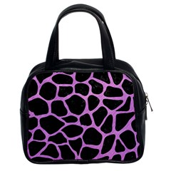 Skin1 Black Marble & Purple Colored Pencil Classic Handbags (2 Sides) by trendistuff