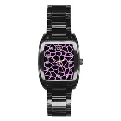 Skin1 Black Marble & Purple Colored Pencil Stainless Steel Barrel Watch by trendistuff