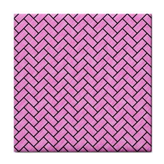Brick2 Black Marble & Pink Colored Pencil Tile Coasters by trendistuff