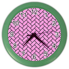 Brick2 Black Marble & Pink Colored Pencil Color Wall Clocks by trendistuff