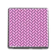 Brick2 Black Marble & Pink Colored Pencil Memory Card Reader (square) by trendistuff