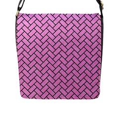 Brick2 Black Marble & Pink Colored Pencil Flap Messenger Bag (l)  by trendistuff