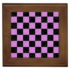 Square1 Black Marble & Purple Colored Pencil Framed Tiles by trendistuff