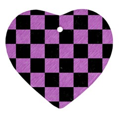 Square1 Black Marble & Purple Colored Pencil Heart Ornament (two Sides) by trendistuff