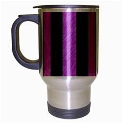 Stripes1 Black Marble & Purple Colored Pencil Travel Mug (silver Gray) by trendistuff