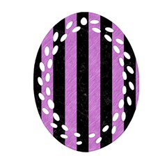 Stripes1 Black Marble & Purple Colored Pencil Oval Filigree Ornament (two Sides) by trendistuff
