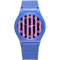 Stripes1 Black Marble & Purple Colored Pencil Round Plastic Sport Watch (s) by trendistuff