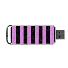 Stripes1 Black Marble & Purple Colored Pencil Portable Usb Flash (one Side) by trendistuff