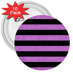 Stripes2 Black Marble & Purple Colored Pencil 3  Buttons (10 Pack)  by trendistuff