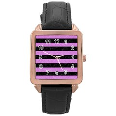 Stripes2 Black Marble & Purple Colored Pencil Rose Gold Leather Watch  by trendistuff