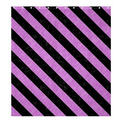 Stripes3 Black Marble & Purple Colored Pencil Shower Curtain 66  X 72  (large)  by trendistuff