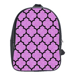Tile1 Black Marble & Purple Colored Pencil School Bag (large) by trendistuff