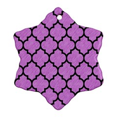 Tile1 Black Marble & Purple Colored Pencil Snowflake Ornament (two Sides) by trendistuff